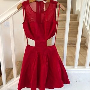 Blvd collection red cutout crop top look dress